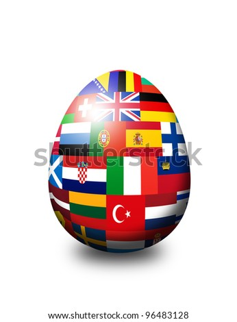 european flag egg isolated over white background