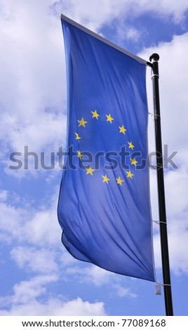 European flag vertically - stock photo