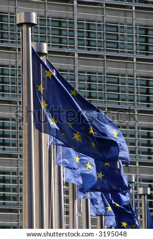 European flags floating in Brussels - stock photo