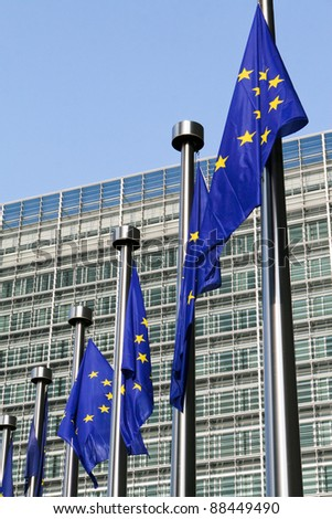 European flags in front of the European Commission headquarters in Brussels - stock photo