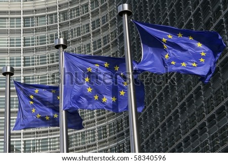European flags in front of the European Commission headquarters in Brussels, Belgium
