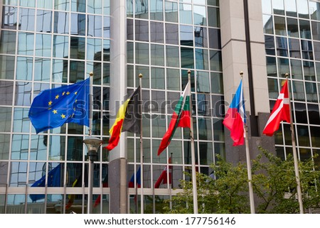European flags in front of the Europen parlament, Brussels, Belgium - stock photo