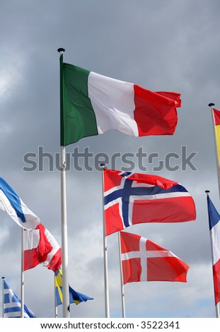 european flags in the wind