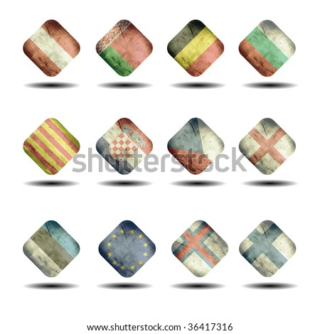 european flags set - cube version - part 1 - stock photo