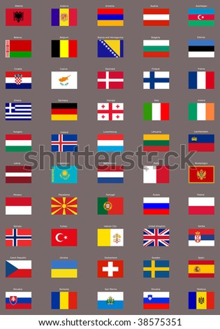 European flags, with clipping path included - stock photo