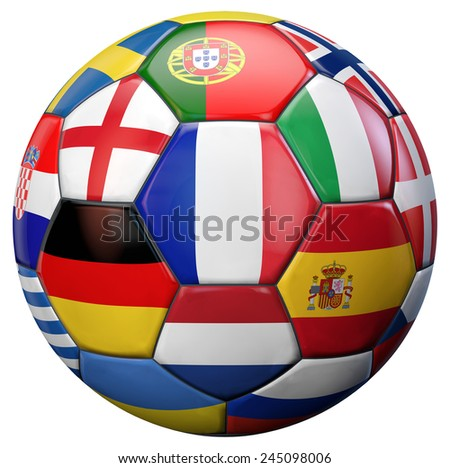 European football ball with France and other national flags teams isolated on white. - stock photo