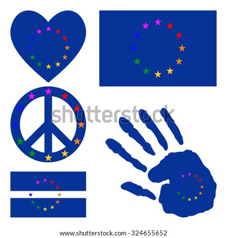 European gay pride flag, heart, pacific sign, equality symbol and hand print for you design. Collection of gay culture symbols. Raster version.