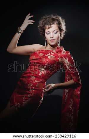 European girl in chinese dress