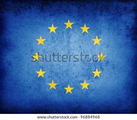 European grunge flag - stock photo