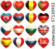 European Hearts - stock vector