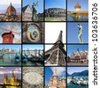 European landmarks collage - stock photo