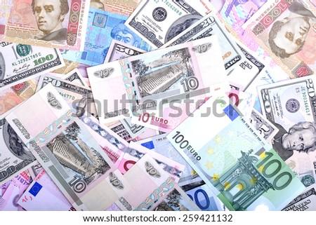 european money and american dollars - stock photo
