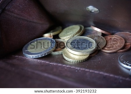European money (Euro, â?¬) in the coin pocket of the leather wallet