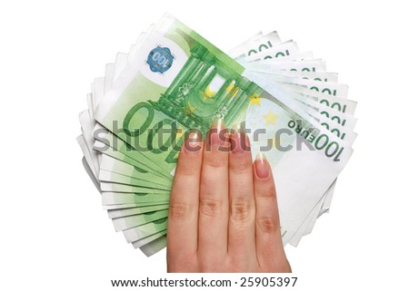 European money in hand isolated on white - stock photo