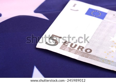 european money on american flag