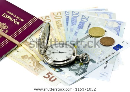 European passport, banknotes, coins and antique clock, isolated on white background