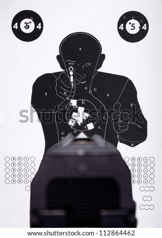 European Police Target with holes - stock photo