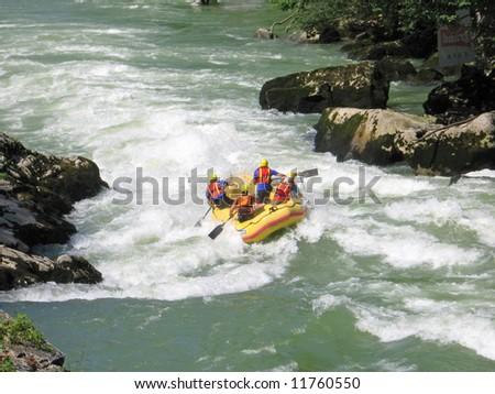 European rafting championship R6 on the rapids of river Vrbas near Banja Luka, Republika Srpska, Bosnia and Herzegovina - stock photo