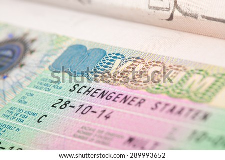 European Schengen zone visa in passport - close up