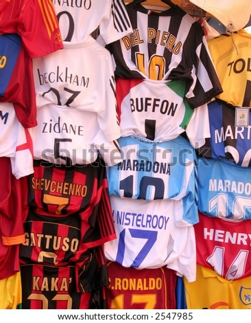European, spanish and italian soccer's teams t-shirts - stock photo