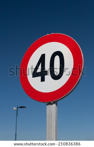 European Speed limit sign 40 km per hour