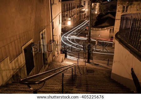 European street at night, Lisbon, Portugal