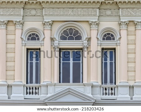 European style Arch Window in the Grand Palace, Bangkok, Thailand.