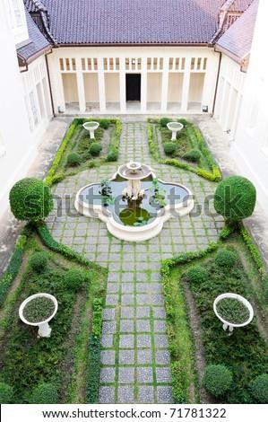 European style garden inside the old palace,Thailand - stock photo