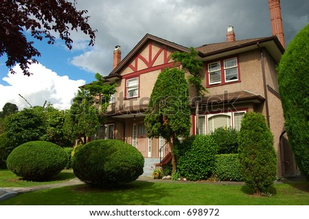European styleish house in Vancouver, British columbia Canada - stock photo