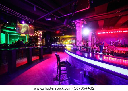 european stylish night club with bright lights - stock photo
