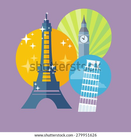 European traveling tour, touristic banner. Composition with famous european world landmarks icons. Web banners, marketing and promotional materials, presentation templates. Raster version  - stock photo