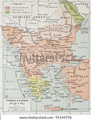 European Turkey between 1792 and 1877 old map. By Paul Vidal de Lablache, Atlas Classique, Librerie Colin, Paris, 1894 - stock photo