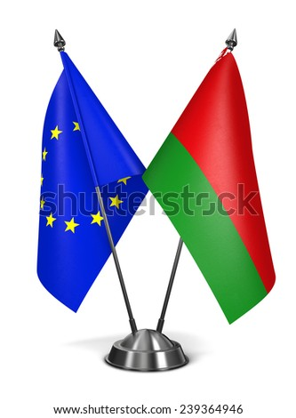 European Union and Belarus - Miniature Flags Isolated on White Background. - stock photo
