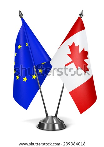 European Union and Canada - Miniature Flags Isolated on White Background. - stock photo