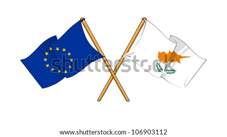 European Union and Cyprus alliance and friendship - stock photo