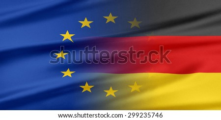 European Union and Germany. The concept of relationship between EU and Germany. - stock photo