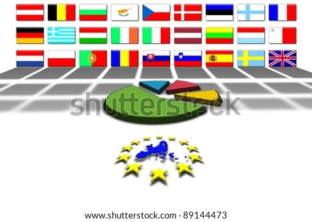 European Union countries and flags:statistics - stock photo