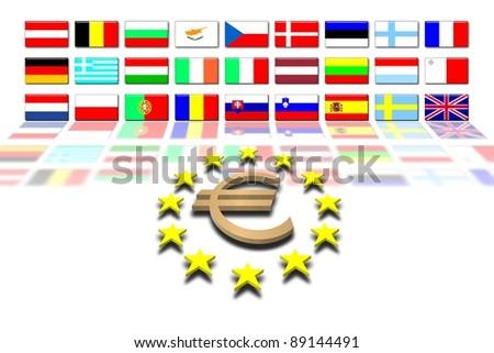 European Union countries and flags: the euro - stock photo