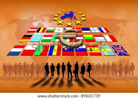 European Union countries: flags and symbol. - stock photo