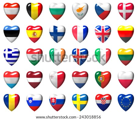 European Union countries flags wrapped in heart isolated on white