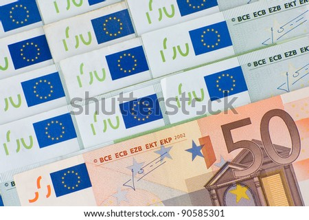 European Union currency - 50 and 100 euros banknotes - stock photo