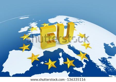 european union 3d illustration - stock photo