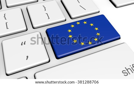 European Union digitalization and use of digital technologies concept with the EU flag on a computer key.