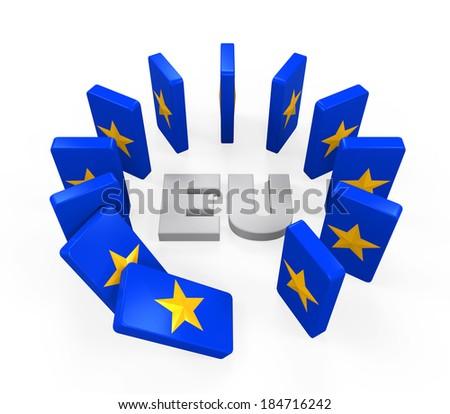 European Union Domino Effect - stock photo