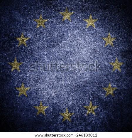 European Union EU flag on the grunge concrete wall - stock photo