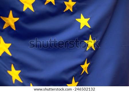 European Union Flag Closeup Detail - stock photo