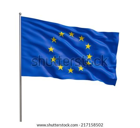 European Union Flag, Isolated on white background. - stock photo