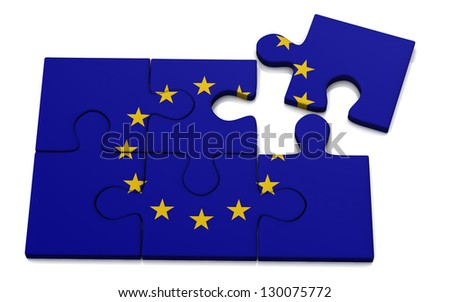 European Union flag puzzle, 3d - stock photo
