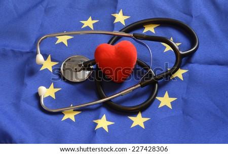European Union Flag, stethoscope, heart - stock photo
