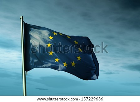 European Union flag waving in the evening - stock photo